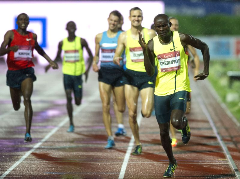 Ferguson Cheruiyot Rotich (1st R) of Kenya competes during the men's 800m final at the IAAF World Challenge Zagreb 2014 in Zagreb, capital of Croatia, on Sept. 2, ...