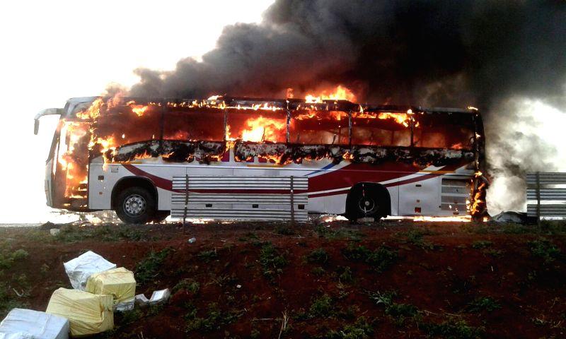 Zahirabad: A luxury bus catches fire in Zahirabad of Telangana's Medak ...