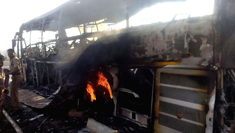 A luxury bus catches fire in Zahirabad of Telangana's Medak district on Jan 19, 2015. Reportedly no one was injured in the fire.