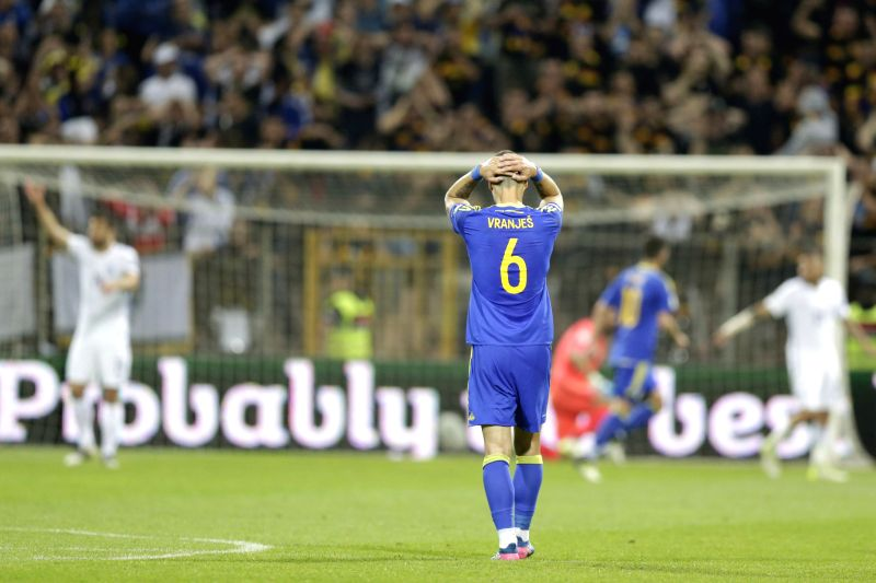 ZENICA, June 10, 2017 - Ognjen Vranjes of Bosnia and Herzegovina reacts during the 2018 FIFA Russia World Cup Qualifiers Group H match between Bosnia and Herzegovina (BiH) and Greece in Zenica, ...
