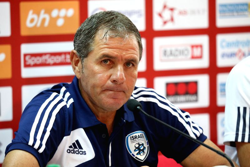 Eli Guttman, coach of Israeli national team, attends a press conference at the stadium Bilino Polje in Zenica, Bosnia and Herzegovina (BiH), on June 11, 2015. ...