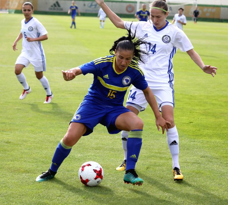 ZENICA, June 13, 2018 - Alma Kameric (C) of Bosnia and Herzegovina (BiH) vies with Yekaterina Babshuk of Kazakhstan during the FIFA Women's World Cup qualifying Group match between Bosnia and ...