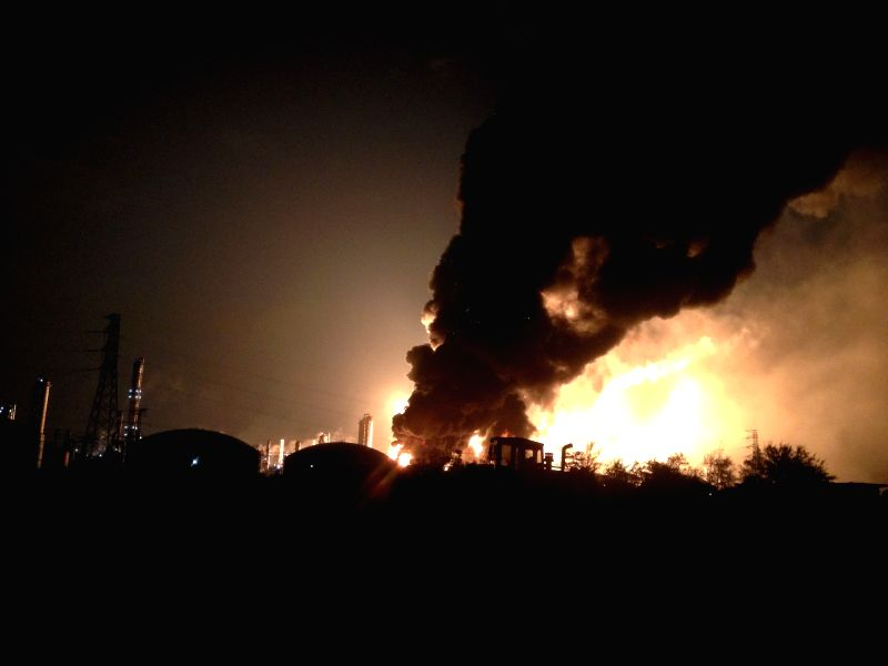 Photo taken on April 6, 2015 shows the scene where a chemical plant blast in Zhangzhou, southeast China's Fujian Province. The blast took place at around 6: 50 ...