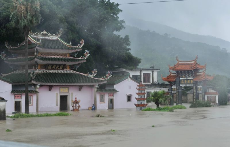 ZHAO'Photo taken on June 16, 2014 shows a flooded temple at Xixia Village of Dongqiao Town in Zhao'an County, southeast China's Fujian Province. The typhoon Hagibis ...