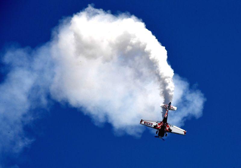 ZHENGZHOU, April 27, 2017 - An aerobatic aircraft flies during a performance at the Airshow Zhengzhou 2017 in Zhengzhou, capital of central China's Henan Province, April 27, 2017. The 5-day air show ...