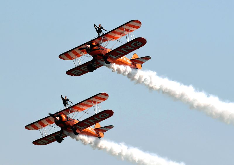 ZHENGZHOU, April 27, 2017 - The Breitling Wingwalkers perform at the Airshow Zhengzhou 2017 in Zhengzhou, capital of central China's Henan Province, April 27, 2017. The 5-day air show kicked off in ...