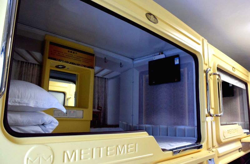 A cell unit is seen in a capsule apartment in Zhengzhou, capital of central China's Henan Province, Jan. 15, 2015. In Zhengzhou, several capsule apartments with ..