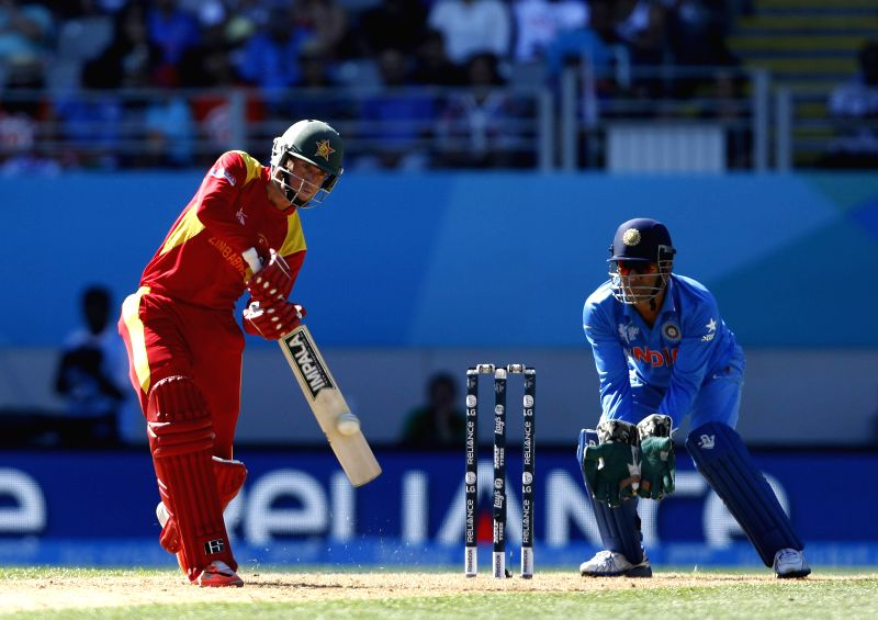 Zimbabwean batsman Sean Williams in action during an ICC World Cup 2015 match between India and Zimbabwe at the Eden Park in Auckland, New Zealand on March 14, 2015. - Sean Williams