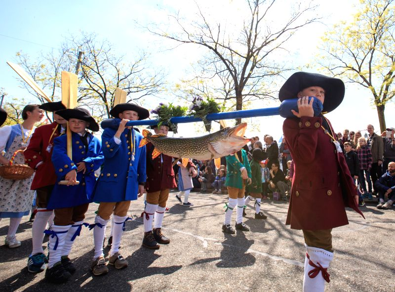 ZURICH, April 23, 2017 - Children wearing mid-age costumes take part in the spring festival parade marking the end of winter in Zurich, Switzerland, April 23, 2017. The 2-day spring festival of ...