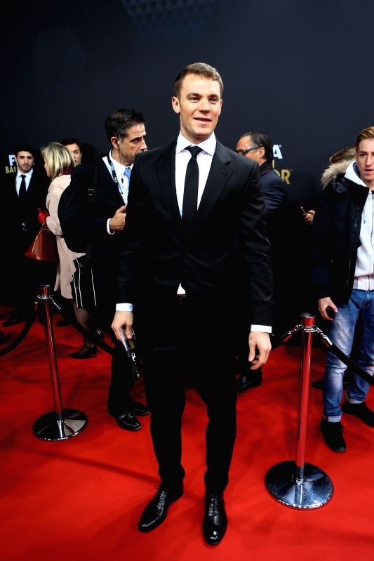 German player Manuel Neuer poses on the red carpet ahead of the 2014 FIFA Ballon d`Or award ceremony in Zurich, Switzerland, Jan. 12, 2015.