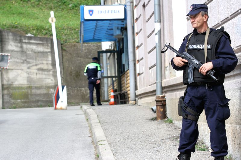 A policeman on patrol is seen in the city of Zvornik, Bosnia and Herzegovina, April 28, 2015. One policeman was killed and two others were wounded in a terrorist ...
