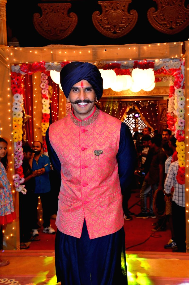 Actor Ranveer Singh during the promotion of film Bajirao Mastani on the sets of Colors TV show Udaan in Mumbai, on Sep 12, 2015.