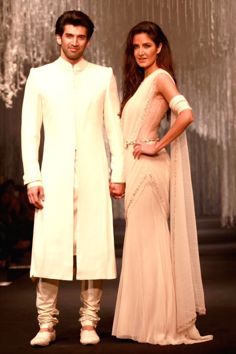 Actors Aditya Roy Kapoor and Katrina Kaif at the designer Tarun Tahiliani`s show, in New Delhi on Feb 06,2016.
