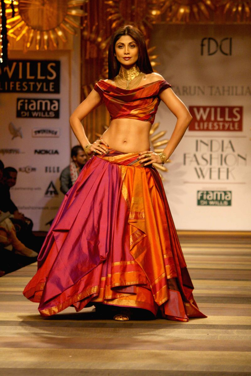 Actress Shilpa Shetty Kundra during Wills Lifestyle India Fashion Week Autumn-Winter'14 in New Delhi on March 26, 2014.