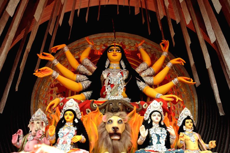An idol of Goddess Durga at a community Durga Puja pandal during Durga Puja the biggest festival of the year in Kolkata on Oct. 9, 2013.
