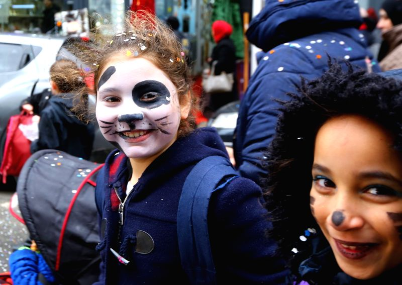 BRUSSELS, March 1, 2017 - Children take part in a carnival for children in Brussels, capital of Belgium, Feb. 28, 2017.