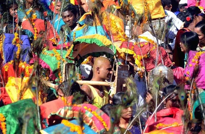 Devotees participate in Kavadi Yatra in Ahmedabad, on March 23, 2016.
