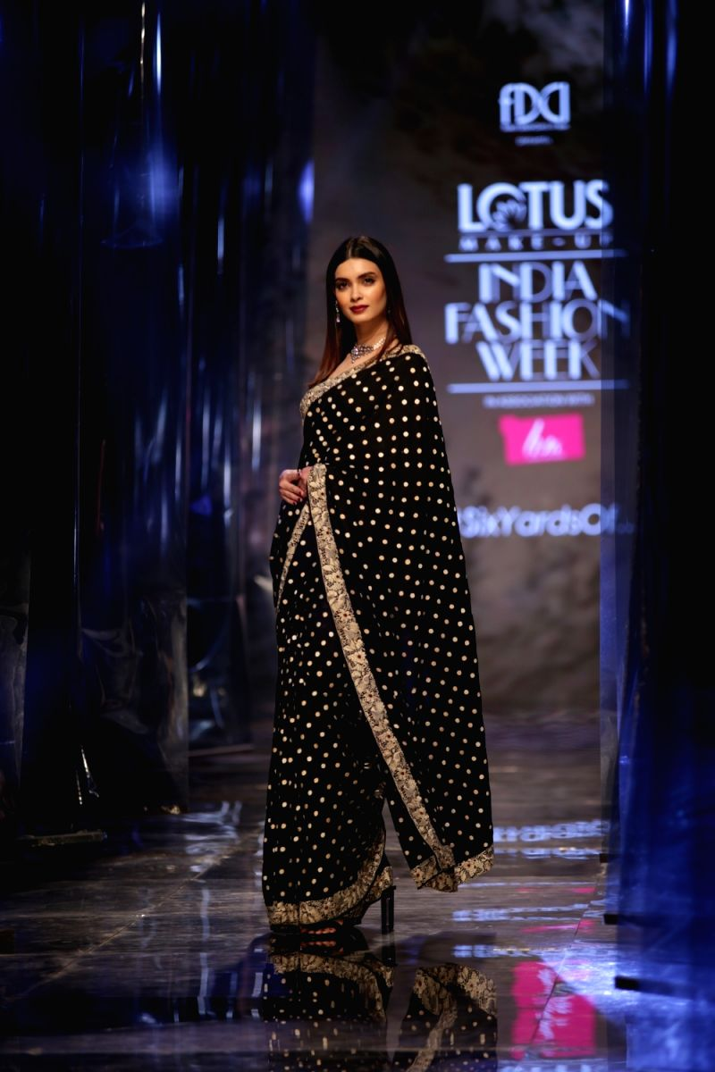 FDCI Lotus India Fashion Week Grand Finale actress Diana Penty walked ramp in New Delhi, on March 16, 2019.