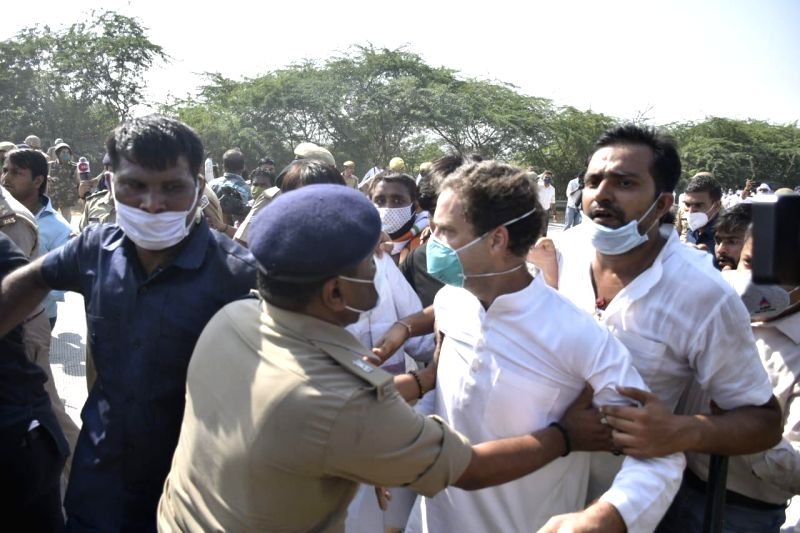 Greater Noida: Congress leader Rahul Gandhi being stopped by the UP police from marching towards Hathras to meet the family of the gang rape victim who died on Tuesday and whose dead-of-night cremation by the UP police has provoked nationwide outrage