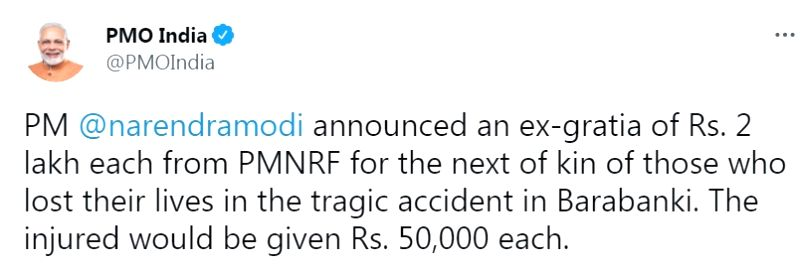 Modi announces Rs 2L for kin of Barabanki accident victims.(photo:Modi twitter)