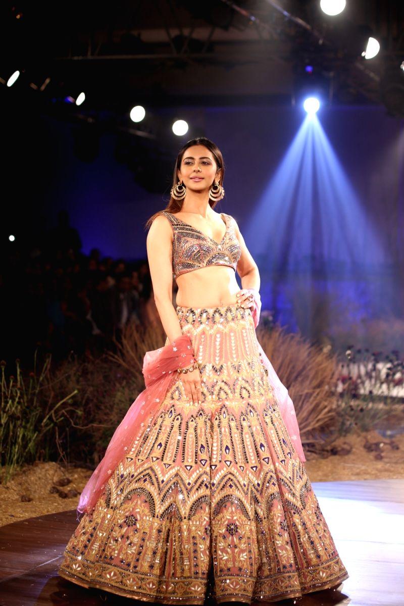 New Delhi: Actress Rakul Preet Singh walks the ramp for designer Reynu Tandon at India Couture Week 2019 in New Delhi, on July 26, 2019. (Photo: Amlan Paliwal/IANS)