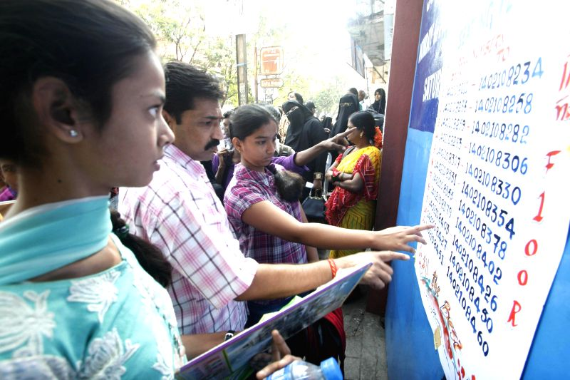 Students appearing for secondary school examinations at their exam centre in Hyderabad on March 12, 2014.