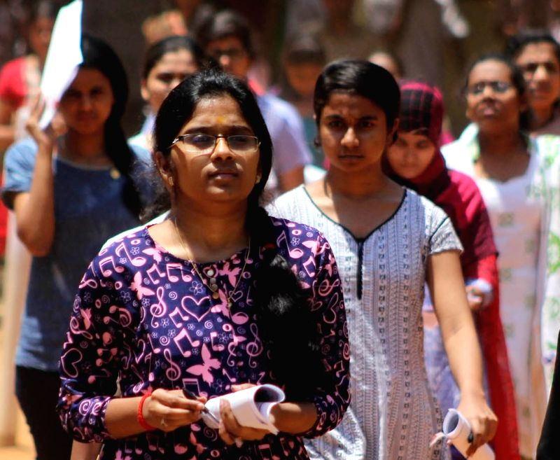 Students come out after appearing in NEET Exam in Bengaluru, on May 1, 2016.