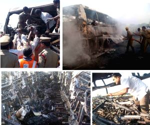 40 burnt alive as bus catches fire in Andhra