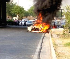 Car catches fire on DND