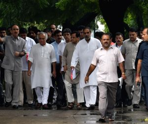 A Congress delegation led by Ghulam Nabi Azad, Jairam Ramesh, Shakeel Ahmad and Anand Sharma arrive at CVC to submit a memorandum asserting that the deal announced by Prime Minister ...