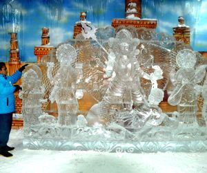 Durga idol made of ice installed