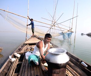Fishing in Brahmaputra river