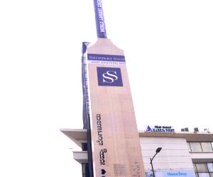 "Mithali Raj gives an autograph on ""world's largest"" bat"