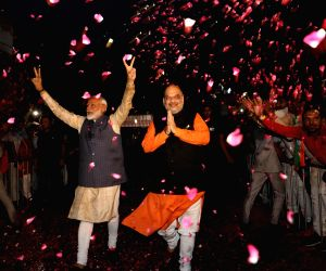 A picture shared by the BJP on Twitter where Narendra Modi accompanied by Amit Shah, is seen flashing victory sign after the BJP pulled off a stunning and historic victory in the 2019 Lok Sabha battle, with the ruling party itself set to win 303 seat