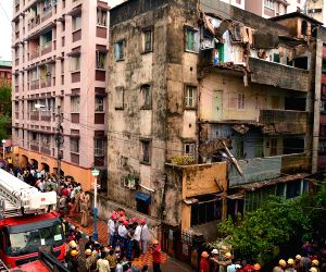 A portion of Kolkata building collapses during rains