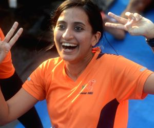 Pregnant lady participates in Mumbai Marathon