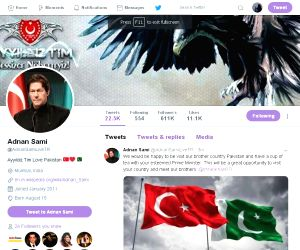 A screen grab of the hacked Twitter handle of singer Adnan Sami.