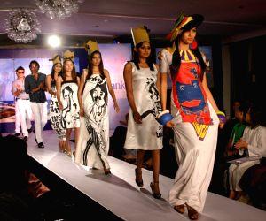 A Sri Lankan model presenting creation by Sri Lankan designer Sarani Gunawickrama during the Sri Lankan fashion show in New Delhi on 15 Sept Tuesday night 2009.