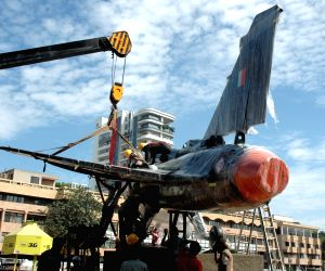 Tejas being installed at Minsk Square