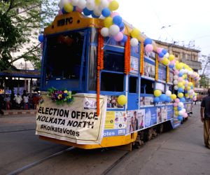 A tram decorated for an election campaign organised by Election Commission ahead of the 3rd phase of State Assembly election at TMC Bhawan in Kolkata
