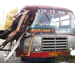 School bus rams KSRTC bus