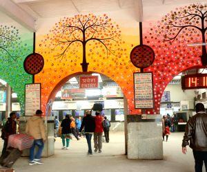 Wall paintings at New Delhi railway station