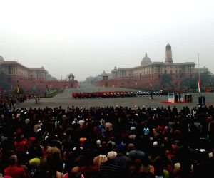 A View of the Beating the Retreat ceremony of the  Raisina Hills  in New Delhi on Saturday  which marks the end of the 'The Republic Day' Function. (Photo: IANS