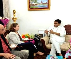 A World Bank delegation calls on Union Commerce and Industry and Civil Aviation Minister Suresh Prabhakar Prabhu, in New Delhi, on July 13, 2018.