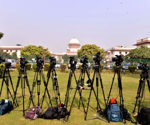 Active presence of media seen outside the Supreme Court as the apex court hears several cases related to the CBI row, Sabarimala temple issue and the Rafale deal, as it re-opened after ...