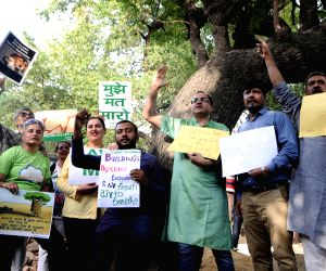 Activists' demonstration against felling of trees for construction of flats in South Delhi
