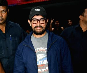 Actor Aamir Khan seen outside a theatre, in Mumbai's Juhu, on May 23, 2019.