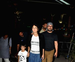 Aamir, Kiran and Azad spotted while returning from holiday