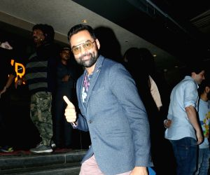 "Actor Abhay Deol arrives at the screening of upcoming film ""Screening of film Pal Pal Dil Ke Paas"" in Mumbai on Sep 19, 2019."