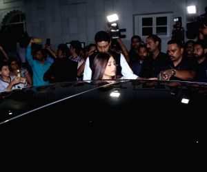 Rani Mukerji's father prayer meet - Abhishek Bachchan and Aishwarya Rai Bachchan